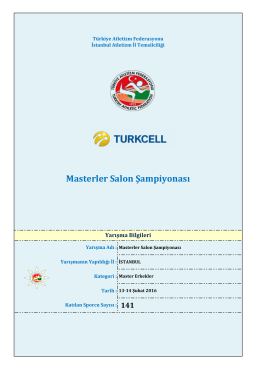 Masterler Salon Şampiyonası - Türkiye Atletizm Federasyonu