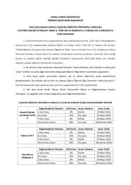 bursa teknik üniversitesi öğrenci işleri daire başkanlığı 2015