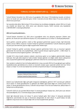 turkcell iletişim hizmetleri a.ş. – 2015/12