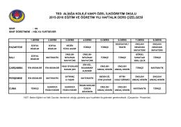 4-a sınıfı ders programı