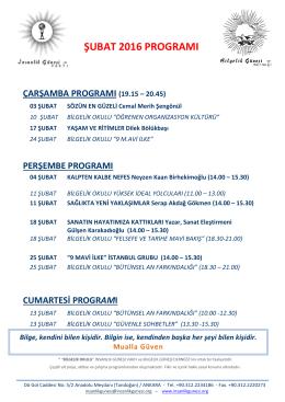 şubat 2016 programı