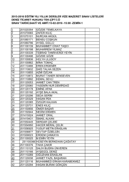 2015-2016 eğitim yılı yıllık dersler vize mazeret sınav listeleri deniz