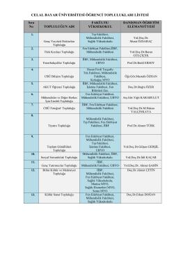 celal bayar üniversitesi öğrenci toplulukları listesi