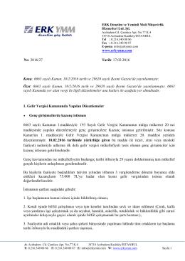 www.erkymm.com No: 2016/27 Tarih: 17.02.2016 Konu: 6663 sayılı