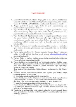 yayın ilkeleri - Hukuk Fakültesi