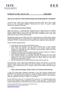6663 Sayılı Kanun İle Vergi Kanunlarında Bazı Düzenlemeler