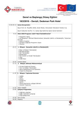 Genel ve Başlangıç Düzey Eğitimi 18/2/2016 – Denizli, Dedeman