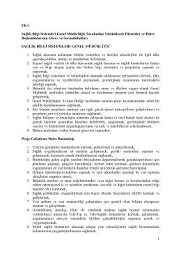 EK-1 Sağlık Bilgi Sistemleri Genel Müdürlüğü Tarafından
