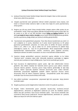 Çankaya Üniversitesi Hukuk Fakültesi Dergisi Yayın İlkeleri 1