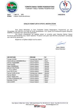 ÜNİ-LİG (A) Grubu-ISPARTA - Türkiye Masa Tenisi Federasyonu