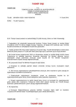 01 aralık 2001 - Türkiye Ulusal Jeodezi ve Jeofizik Birliği
