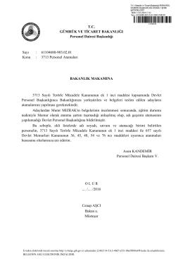 3713 Personel Atamaları - T.C. Gümrük ve Ticaret Bakanlığı