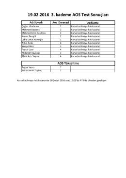 19.02.2016 3. kademe AOS Test Sonuçları