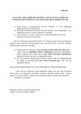 şef-memur - Milli Eğitim Bakanlığı Personel Genel Müdürlüğü