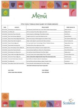 Şubat`16 Yemek Listesi
