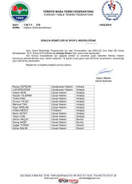 ÜNİ-LİG -ANTALYA/KEMER - Türkiye Masa Tenisi Federasyonu