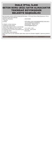 15 Şubat 2016 İHALE İPTAL İLANI BETON BORU (BÜZ)