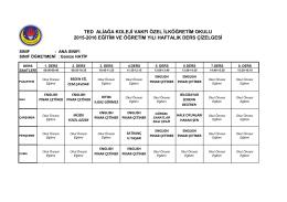 okul öncesi bölümü ders programı