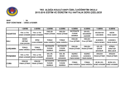 5-a sınıfı ders programı