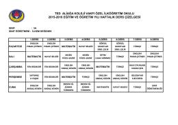 3-a sınıfı ders programı