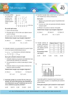 İstatistik - Ölçme, Değerlendirme ve Sınav Hizmetleri Genel Müdürlüğü