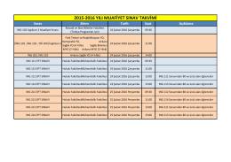 2015-2016 yılı muafiyet sınav takvimi
