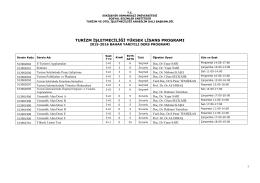 Haftalık Ders Programı (2015-2016 Bahar Yarıyılı)