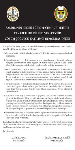 saldırının hedefi türkiye cumhuriyetidir cevabı türk