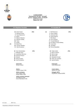 FC Shakhtar Donetsk FC Schalke 04