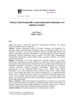Türkiye`deki hemşirelik araştırmalarında kullanılan veri toplama