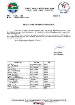 ADANA - Türkiye Masa Tenisi Federasyonu