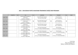 Muhasebe Finansman Tezsiz Yüksek Lisans Ders Program