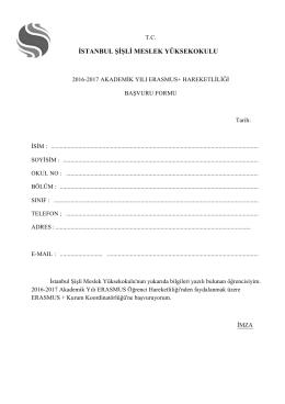 Erasmus+ Öğrenci Hareketliliği Başvuru Formu