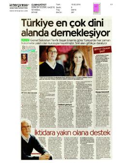 2016 15 Şubat Türkiye En Çok Dini Alanda Dernekleşiyor