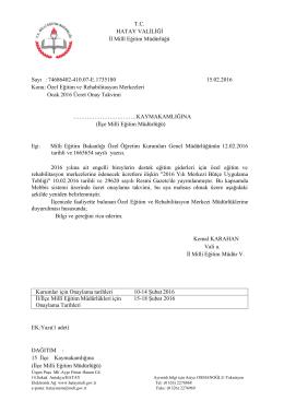 Özel Eğitim ve Rehabilitasyon Merkezleri Ocak 2016 Ücret Onay....