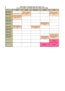 2015-2016 Bahar Dönemi 2. Sınıf Lisans Ders Programı