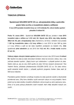 Společnost GOLDEN GATE CZ a.s. zdvojnásobila tržby a potvrdila