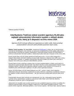InterSystems TrakCare získal ocenění agentury KLAS jako nejlepší
