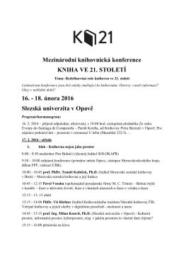 Program K21 ke stažení - Kniha ve 21. století (2016)
