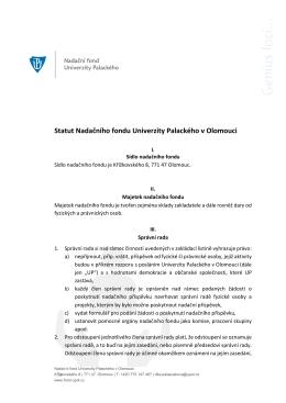 Statut Nadačního fondu Univerzity Palackého v