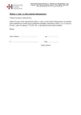 Žádost o výpis ze zdravotnické dokumentace