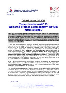 Projekt ROK ŘEMESEL 2016 - tisková zpráva