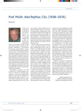 Prof. MU Dr. Aleš Rejthar, CSc. (1938– 2015)