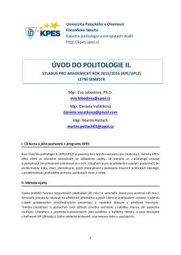 Sylabus UPL2 LS 2016 - Katedra politologie a evropských studií