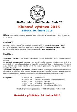Klubová výstava 2016 - Staffordshire Bull Terrier Club CZ