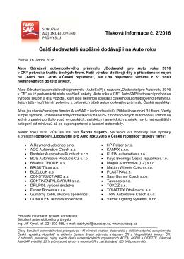 Tisková informace č. 2/2016 Čeští dodavatelé úspěšně dodávají i na