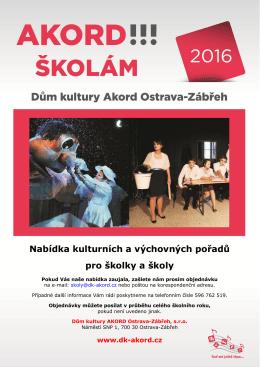 Nabídka kulturních a výchovných pořadů pro školky a školy