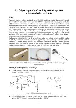 11. Odporový snímač teploty, měřicí systém a bezkontaktní teploměr ↓
