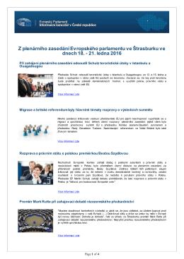21. ledna 2016 - Informační kancelář Evropského parlamentu