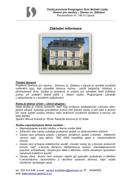 Základní informace - Domov pro seniory, Domov svaté Zdislavy